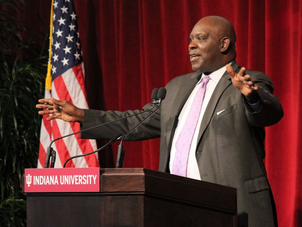 IU trustee William Quinn Buckner speaks about his relationship with George Taliaferro on Nov. 1, 2020 at Memorial Stadium. Buckner was elected chair of the IU Board of Trustees Tuesday.