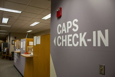 The Counseling and Psychological Services check-in desk is seen on the fourth floor of the IU Health Center. CAPS provides students with two free appointments each semester and holds periodical mindfulness workshops for students.