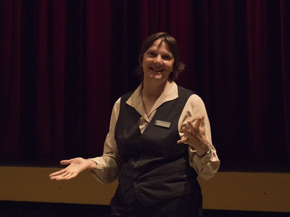 Danielle McClelland, the director of Buskirk-Chumley Theater, spoke in front of media representatives about the installation of 260 thousand dollars worth of equipment Wednesday evening.