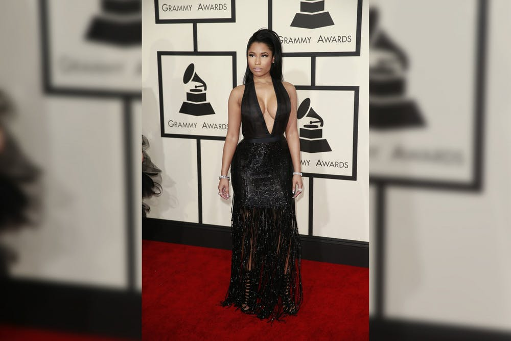 <p>Nicki Minaj arrives at the 57th Annual Grammy Awards on Feb. 8, 2015, at the Staples Center in Los Angeles. </p>