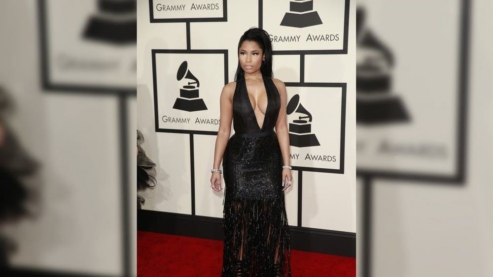 Nicki Minaj arrives at the 57th Annual Grammy Awards on Feb. 8, 2015, at the Staples Center in Los Angeles.