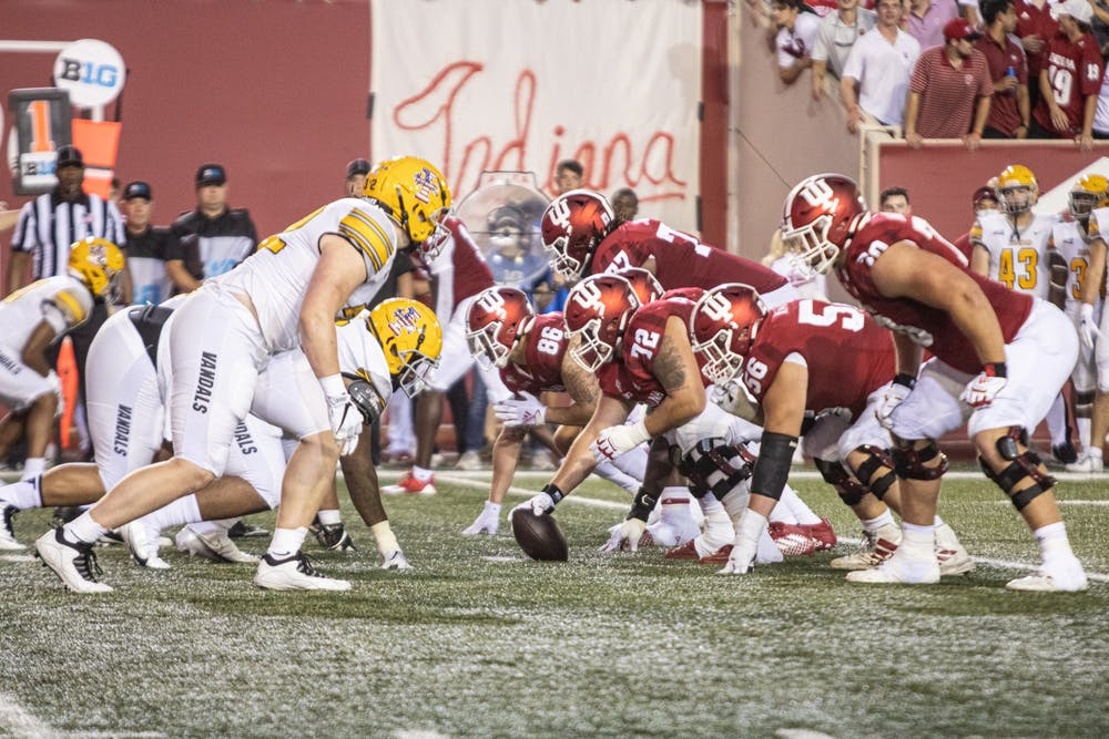 <p>Indiana football lines up against the University of Idaho during the first half Sept. 11, 2021, at Memorial Stadium. Indiana led Idaho 35-7 at halftime. </p>