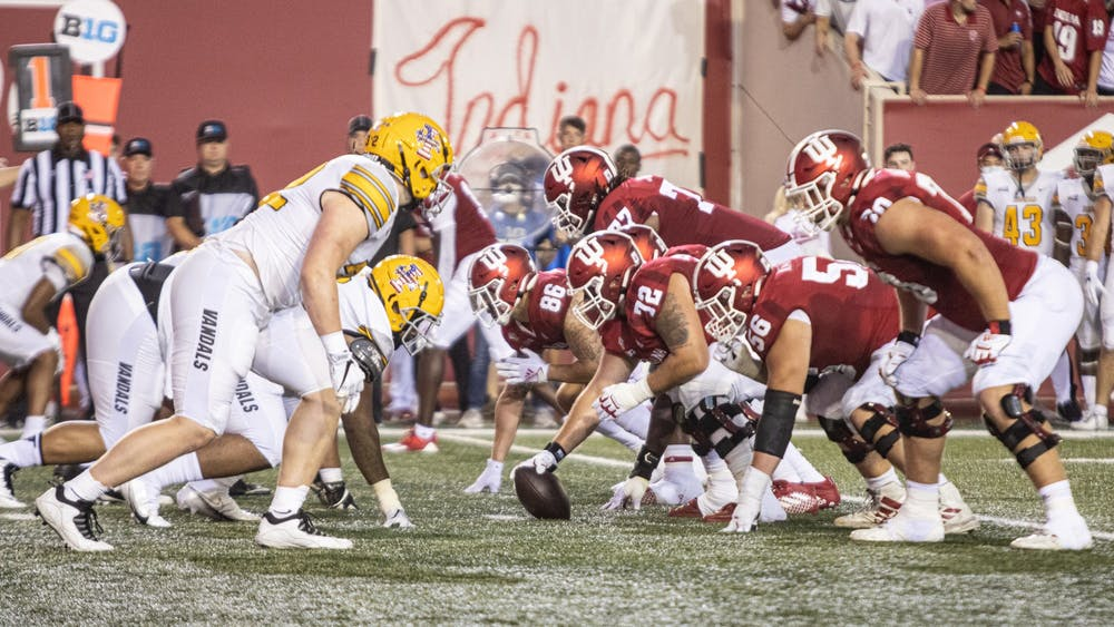 Indiana football lines up against the University of Idaho during the first half Sept. 11, 2021, at Memorial Stadium. Indiana led Idaho 35-7 at halftime.