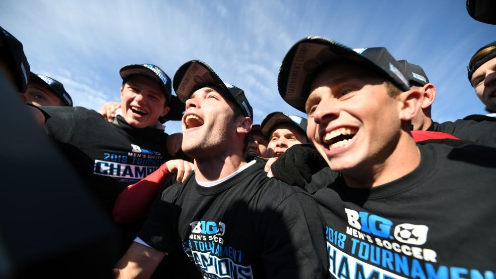 Indiana celebrates Nov. 11 at Grand Park after winning the Big Ten Tournament championship against Michigan during the Big Ten men's soccer tournament.