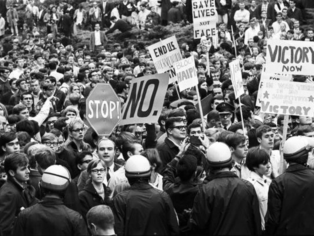 An anti-war protest occurs Oct. 31, 1967, at the IU Auditorium when the United States Secretary of State Dean Rusk came to campus to deliver a speech. The spirit of protesting has remained at Indiana University for decades and lives on today.