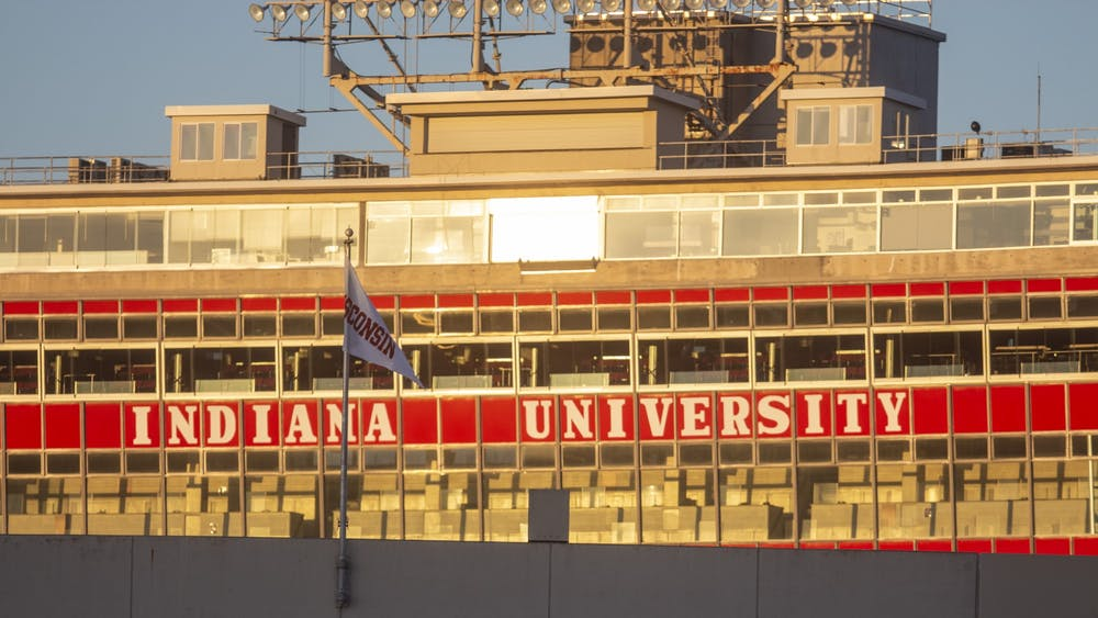 The press box at Memorial Stadium is seen at sunrise Nov. 8.