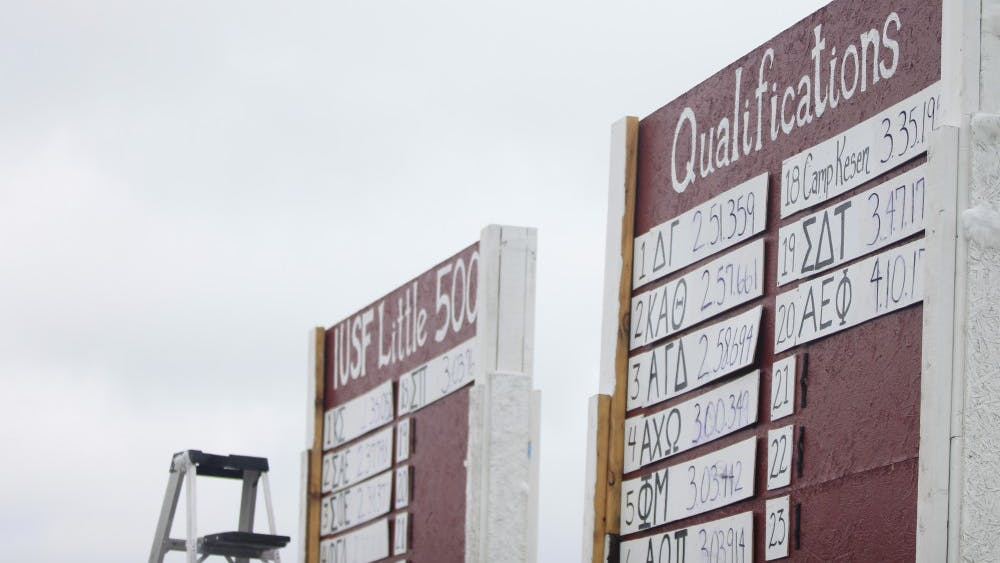 Two signs in the middle of Bill Armstrong Stadium depict the team scores during Little 500 Qualifications. Many fraternities, sororities and clubs will be participating in Little 500 on April 20 and 21.