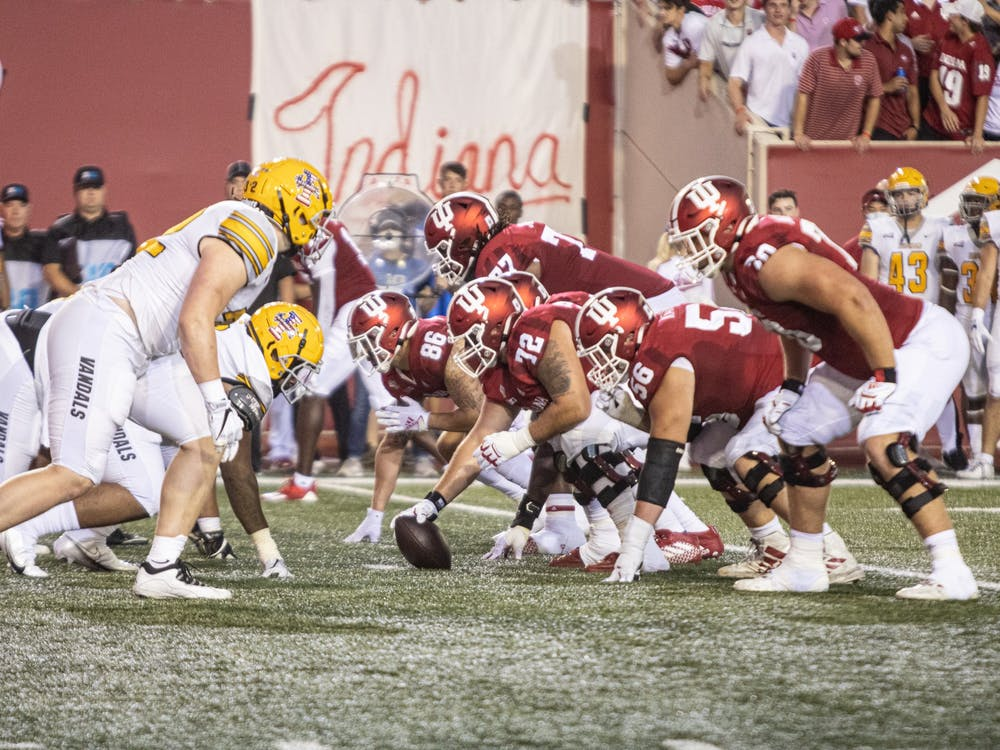 Indiana football lines up against the University of Idaho during the first half Sept. 11, 2021, at Memorial Stadium. Indiana will play the University of Cincinnati at noon Saturday.