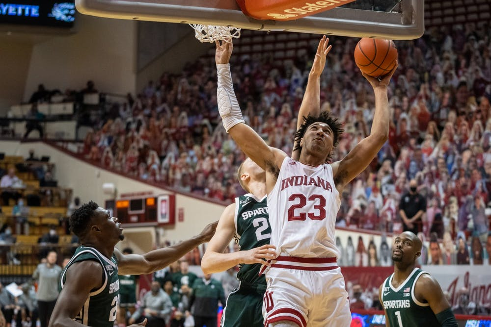 <p>Trayce Jackson-Davis goes in for two against Michigan State Feb. 20 at Simon Skjodt Assembly Hall. The Hoosiers played against Michigan State on Tuesday at 8 p.m.</p>