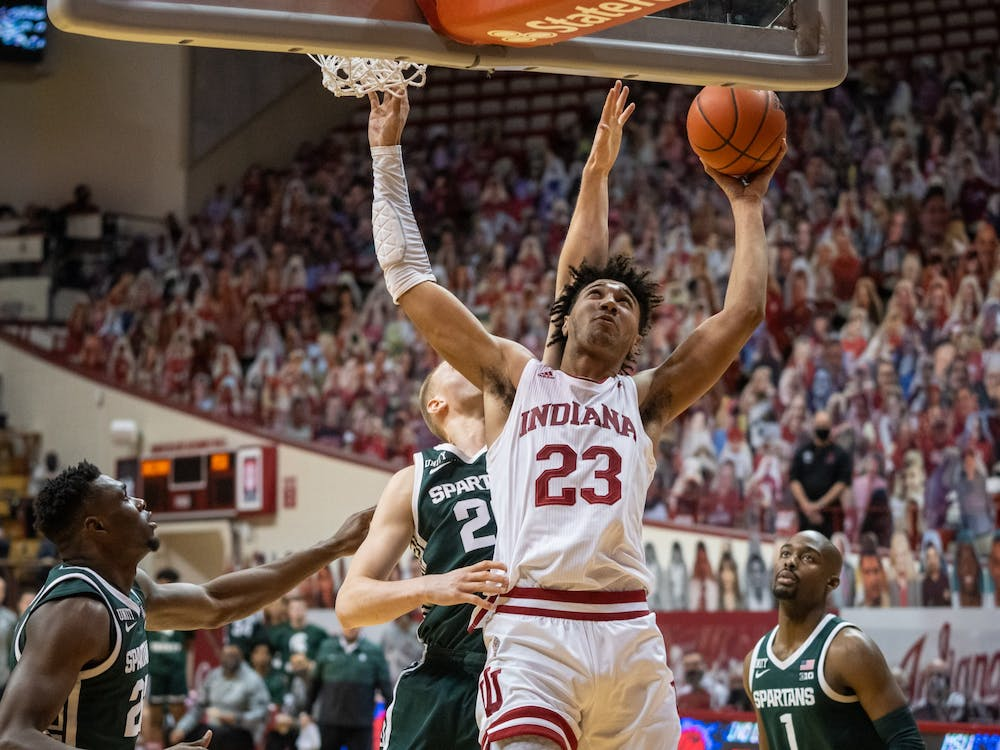 Trayce Jackson-Davis goes in for two against Michigan State Feb. 20 at Simon Skjodt Assembly Hall. The Hoosiers played against Michigan State on Tuesday at 8 p.m.