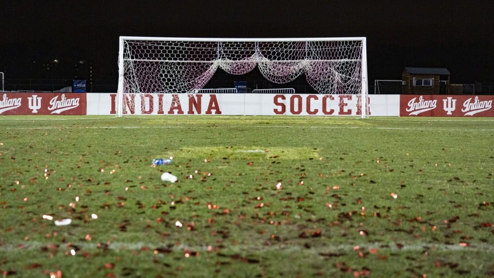 Confetti lays on the field after IU's quarterfinal game against Notre Dame on Nov. 30 at Bill Armstrong Stadium. IU defeated Notre Dame 1-0 to advance to the semifinal in Santa Barbara, California.