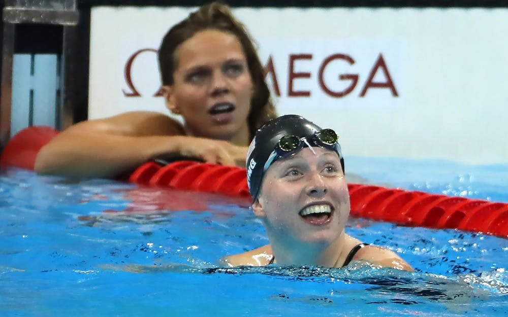 IU sophomore Lilly King reacts to her time in the 100-meter breaststroke, beating Russian swimmer Yuia Efimova, in back, to win a gold medal on Aug. 8 at the 2016 Olympic Games.