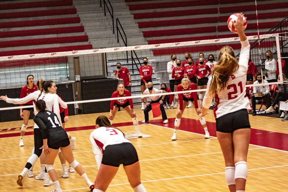 <p>Sophomore setter Emily Fitzner serves the ball against Nebraska on Jan. 22 in Wilkinson Hall. IU will play Iowa on Friday in Iowa City, Iowa. </p>
