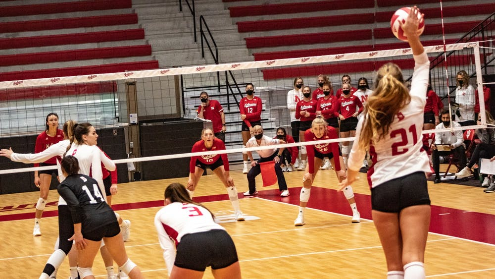 Sophomore setter Emily Fitzner serves the ball against Nebraska on Jan. 22 in Wilkinson Hall. IU will play Iowa on Friday in Iowa City, Iowa.