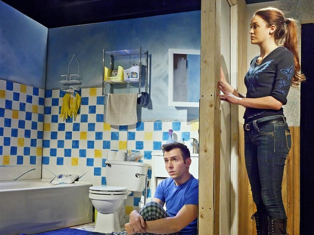 "Actors Evan Mayer and Maddie Shea Baldwin star as David and Julie in ""The Boy in the Bathroom"" at the Bloomington Playwrights Project. The play will be running from Feb. 16-18."