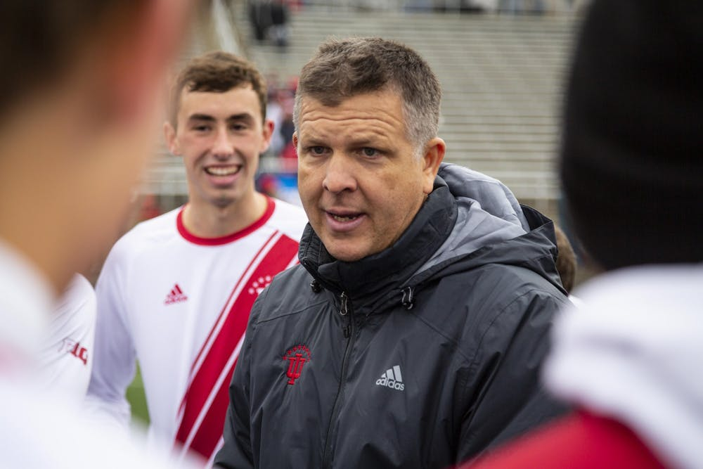 <p>IU men&#x27;s soccer head coach Todd Yeagley talks to his team after IU defeated the University of Connecticut in the second round of the NCAA Tournament on Nov. 18, 2018, at Bill Armstrong Stadium. Yeagley has adopted personal at-home workouts, daily video chats and Kahoot! quizzes as part of his athletes&#x27; new training program during the COVID-19 pandemic.</p>