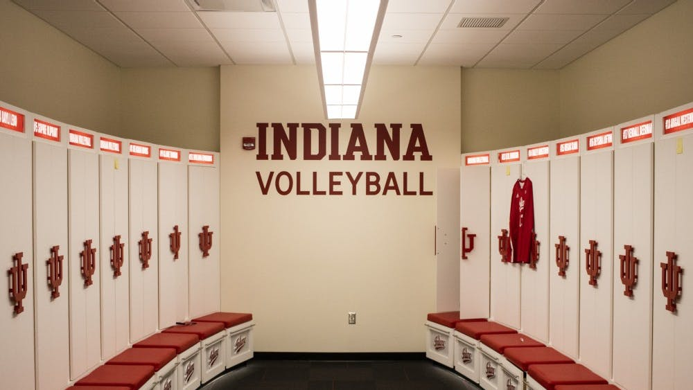 IU volleyball players' names decorate the tops of lockers June 19 in Wilkinson Hall. IU will begin its upcoming fall season in the new arena.