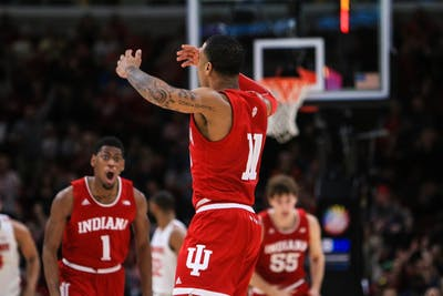 Junior guard Devonte Green celebrates after scoring against Ohio State on March 14 during the Big Ten Men's Basketball Tournament in Chicago. Green contributed a team-high score of 26 points to the Hoosiers' 79-75 loss against the Buckeyes.