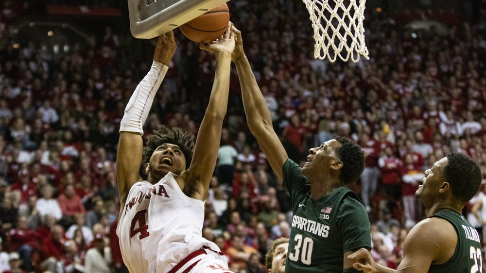 Forward Trayce Jackson-Davis shoots the ball against Michigan State on Jan. 23, 2020, in Simon Skjodt Assembly Hall. IU's game Sunday against Michigan State has been postponed due to COVID-19.