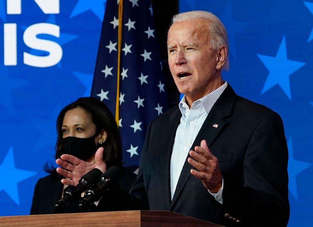 <p>President-elect Joe Biden and Vice President-elect Kamala Harris speak Nov. 5, 2020, at the Queen Theater in Wilmington, Delaware. </p>