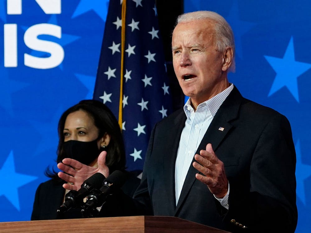 President-elect Joe Biden and Vice President-elect Kamala Harris speak Nov. 5, 2020, at the Queen Theater in Wilmington, Delaware.