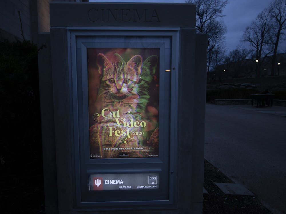 A poster for CatVideoFest is seen Feb. 17 outside the IU Cinema. The film is a compilation reel of cat video submissions and sourced footage and will be screened from 4-5:15 p.m. Feb. 22 at the IU Cinema.