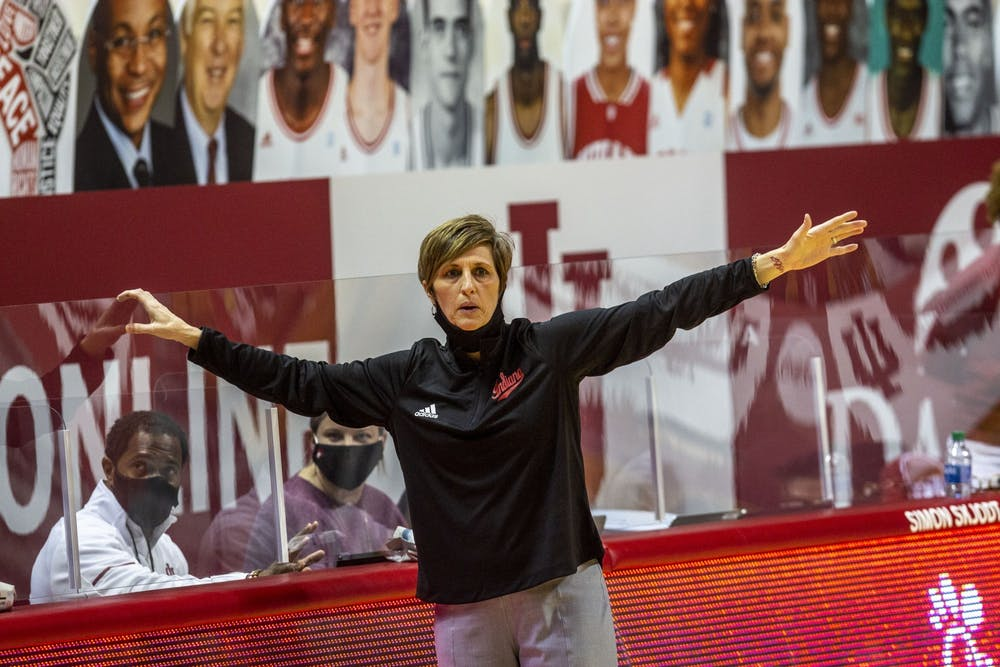 <p>IU women&#x27;s basketball head coach Teri Moren shouts instructions from the sidelines during the game against Michigan State on Jan. 31, 2021, in Simon Skjodt Assembly Hall.The schedule features 18 conference games, starting against Penn State on Dec. 6 in Bloomington.</p>
