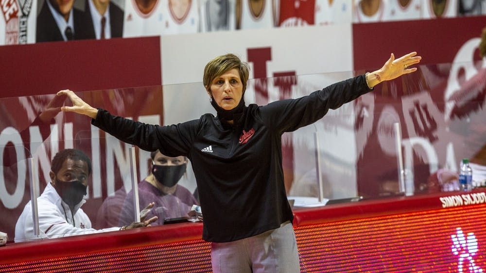 IU women's basketball head coach Teri Moren shouts instructions from the sidelines during the game against Michigan State on Jan. 31, 2021, in Simon Skjodt Assembly Hall.The schedule features 18 conference games, starting against Penn State on Dec. 6 in Bloomington.