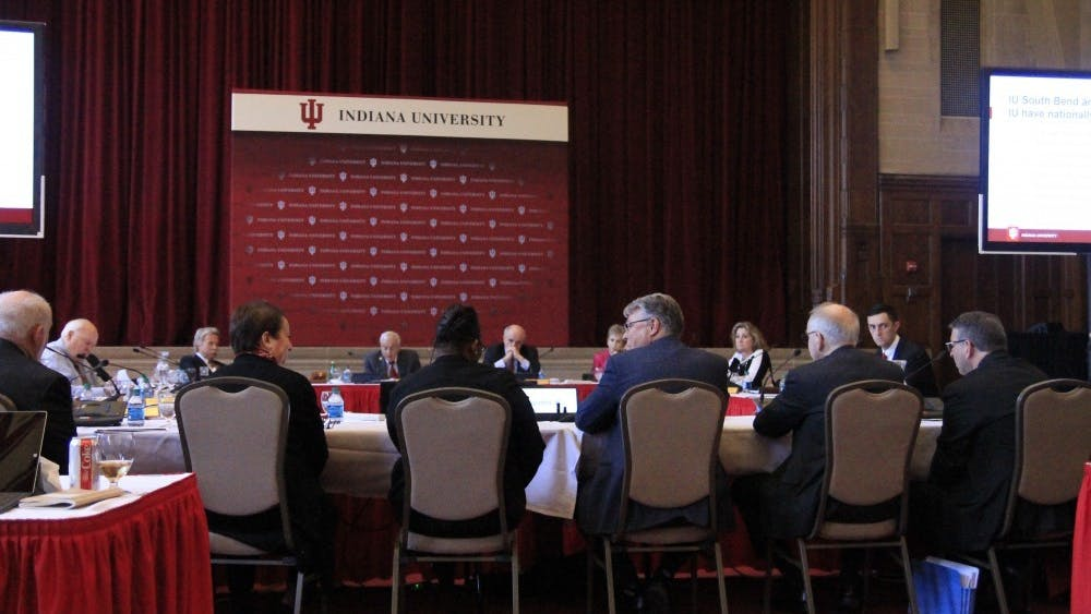 The IU Board of Trustees meets April 5, 2018, in the Indiana Memorial Union. The trustees voted June 5 to increase tuition by 2.5% for undergraduate Indiana residents on all campuses and by 3% for out-of-state undergraduates on the Bloomington campus.