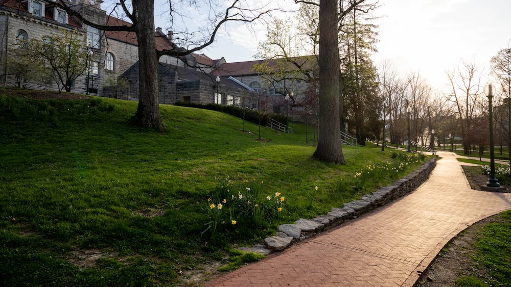 An empty path is pictured April 8 by the Frances Morgan Swain Student Building. An IU student filed a lawsuit Wednesday seeking reimbursement for tuition and fees after the university moved classes online due to the coronavirus pandemic.