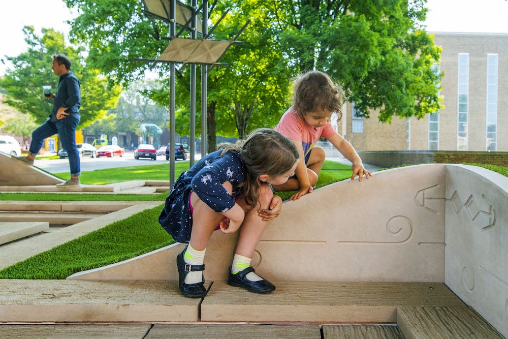 <p>Children play on Jei Jeeyea Kim&#x27;s interactive artwork titled &quot;LaWaSo Ground.&quot; The installation became accessible to the public in August 2021.</p>