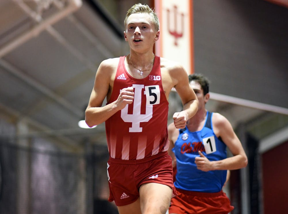 <p>Then-redshirt sophomore Ben Veatch competes in 2018 in the 5,000-meter run at the Hoosier Open at Harry Gladstein Fieldhouse. Veatch finished fourth overall at the outdoor cross-country Big Ten championship last November.</p>