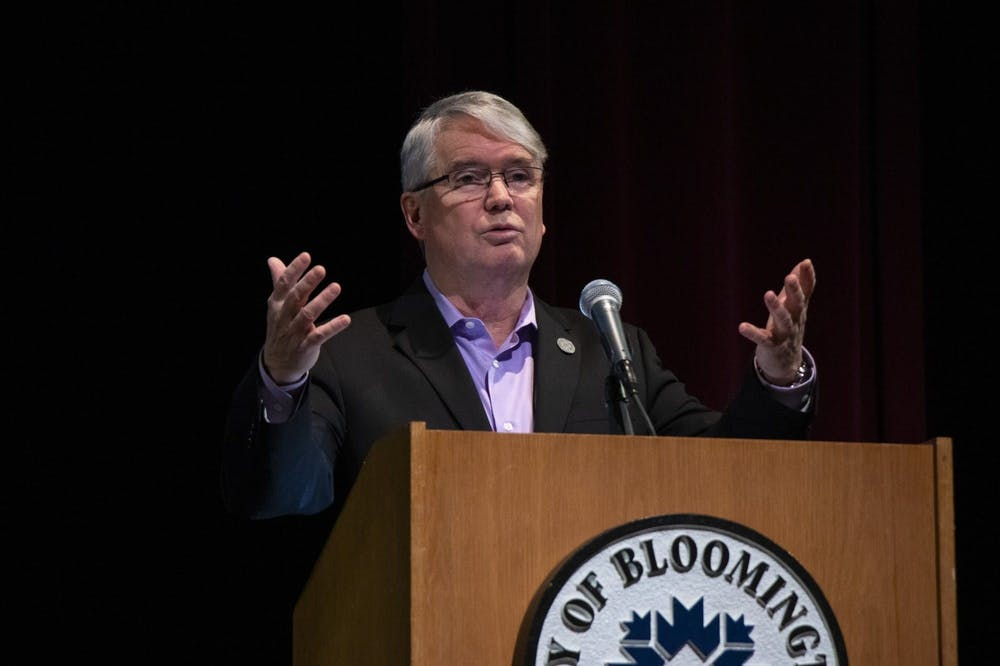 <p>Mayor John Hamilton gives the State of the City address Feb. 20, 2020, at the Buskirk-Chumley Theater. City of Bloomington recommends the park board amend the policy prohibiting camping on any property of the department without a permit.</p>