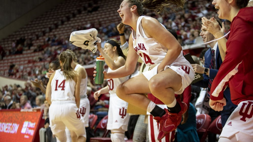 Freshman forward Mackenzie Holmes celebrates after a play Nov. 10 at Simon Skjodt Assembly Hall. Holmes was named Big Ten Co-Freshman of the Week on Jan. 20.
