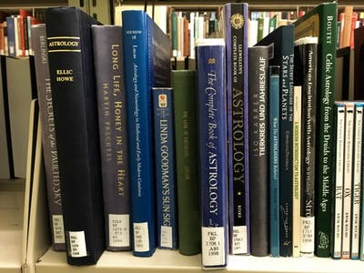 A large selection of astrology books can be found at the Herman B Wells Library.
