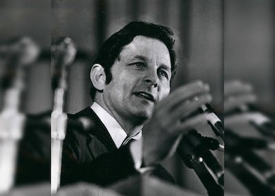 Former Senator Birch Bayh speaks before the delegate assembly to select a presidential candidate of the New York State new Democratic coalition Dec. 12, 1975. Bayh, who was behind the Title IX legislation, died March 14 at the age of 91.