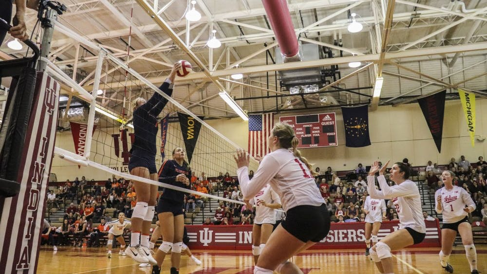 Freshman Breana Edwards squares up for a hit from Illinois on Sept. 23 in University Gym. IU is 11-6 overall this season and 2-4 in Big Ten Conference play.