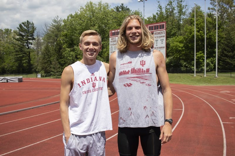 Sophomores Ben Veatch and Cooper Williams smile May 14 at the Robert C. Haugh Complex. Veatch and Williams ran in the Big Ten Championships on May 10-12 in Iowa City, Iowa.