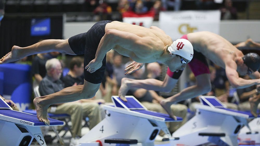 Former Hoosier Blake Pieroni competes in the 200 yard freestyle during the 2017 NCAA Swimming and Diving Championships. Pieroni and two other Hoosiers are nominated for the 2018 Golden Goggles Awards.