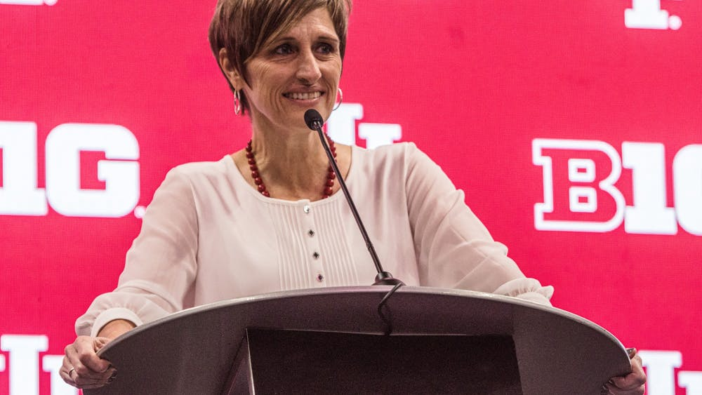 Indiana Women's Basketball Head Coach Teri Moren speaks Oct. 8, 2021, at the 2021 Big Ten Basketball Media Days at Gainbridge Fieldhouse in Indianapolis. Moren is entering her eighth season at Indiana.