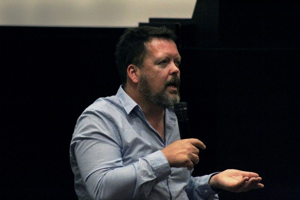 <p>South African filmmaker François Verster speaks to the audience Oct. 7 in the IU Cinema. The presentation was a part of the Filmmaker to Filmmaker series.</p>