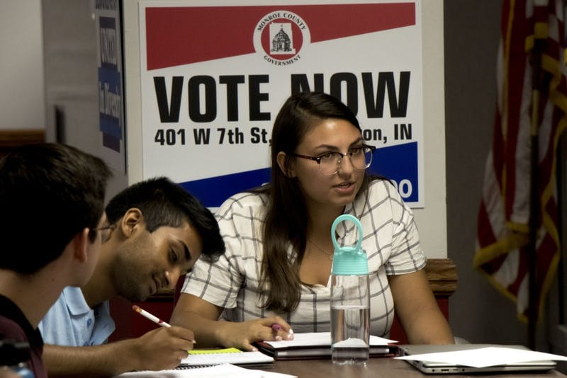 A student takes notes as Drew Ficociello, IU Student Government chief of staff, speaks at an IUSG executive branch meeting Sept. 10 at the Indiana Memorial Union. IUSG will have elections for 61 congressional seats Oct. 1 and 2.