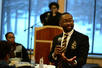 Senior Calvin Sanders discusses diversity at the Martin Luther King Jr. Day Unity Summit Jan. 15, 2018.