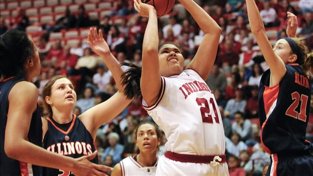 IU freshman forward Danilsa Andujar drives to the basket during the first half against Illinois Sunday at Assembly Hall. IU lost 66-59.