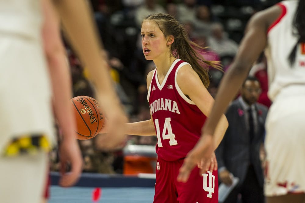 <p>Then-redshirt junior Ali Patberg looks for an open teammate March 7 at Bankers Life Fieldhouse in Indianapolis. Patberg scored a team-high 16 points in IU's 66-51 loss to Maryland in the semi finals of the Big Ten Tournament, the last game of the season due to the coronavirus pandemic.</p>