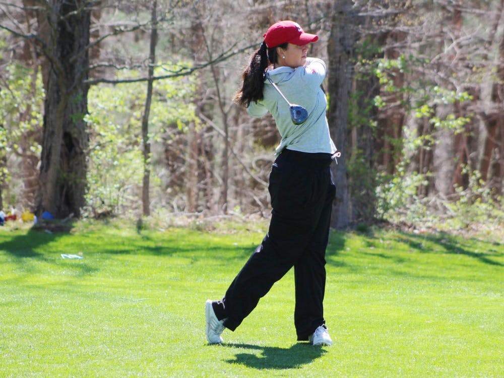 Then-senior, now IU alumna Ana Sanjuan tees off during the first round of the April 2017 IU Invitational at IU Golf Course. IU will travel Feb. 23-24 to Peoria, Arizona, for the Westbrook Invitational.