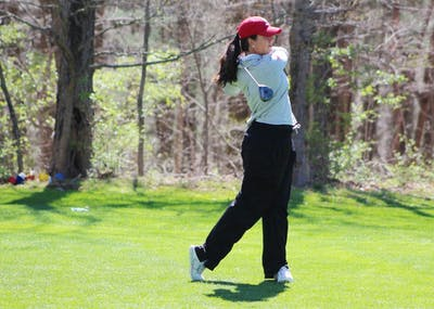 Then-senior, now IU alumna Ana Sanjuan tees off during the first round of the April 2017 IU Invitational at IU Golf Course. IU will travel Feb. 23-24 to Peoria, Arizona, for the Westbrook Invitational.