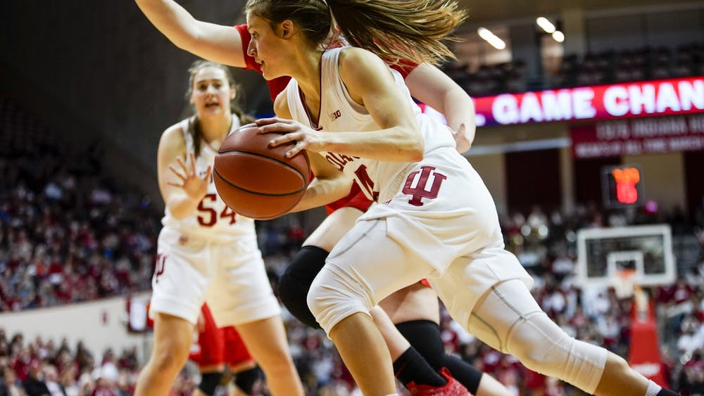 Redshirt junior guard Ali Patberg moves towards the basket Feb. 16 at Simon Skjodt Assembly Hall. Patberg was IU's highest scorer with a total of 22 points.