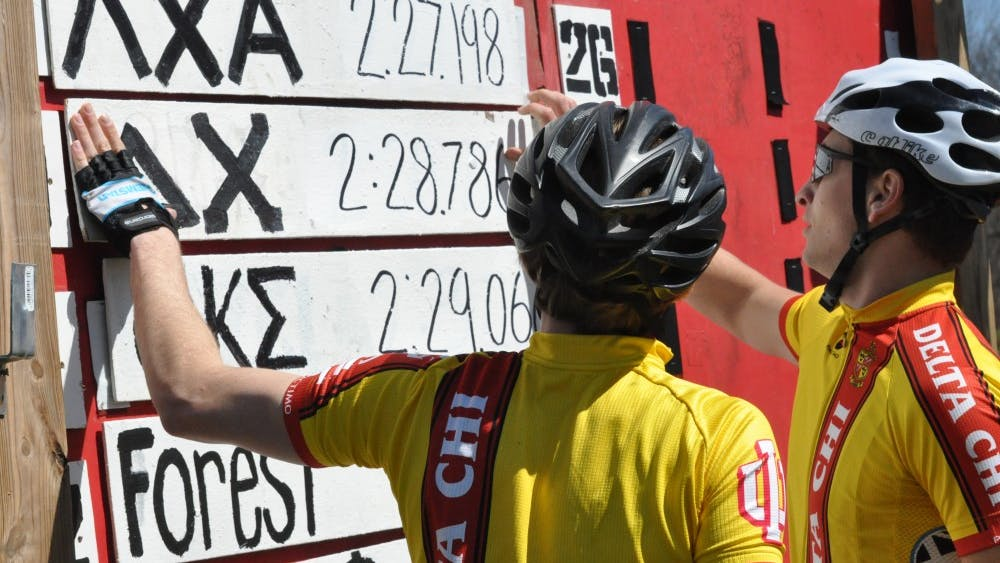 Delta Chi riders put their score on the leaderboard after qualifying for the 2016 Little 500 race.
