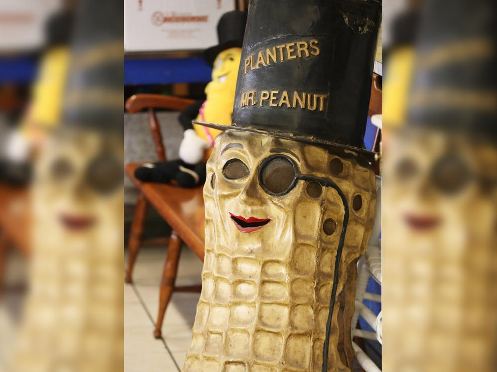 The shell of a Mr. Peanut costume from the 1930s sits Jan. 24 at the Peanut Shoppe in Akron, Ohio. For a Super Bowl commercial, Mr. Peanut died by falling into a canyon to save actors Wesley Snipes and Matt Walsh.